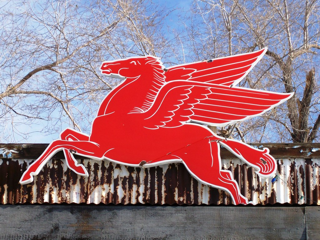 mobil pegasus sign on the top of the hackberry general sto