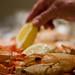 Serving seafood