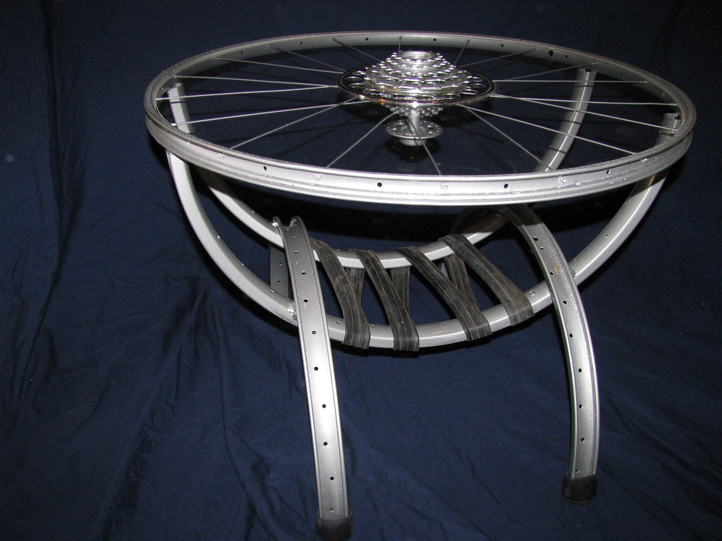 bike wheel coffee table with magazine holder gilbert