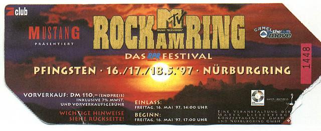 Rock Am Ring Karte.1997 05 16 Rock Am Ring Nürburgring Festival Ticket Flickr