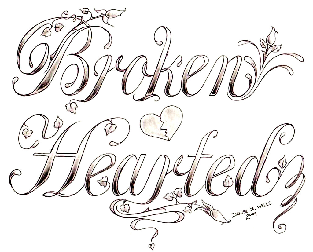 """""""Broken Hearted"""" Tattoo design by Denise A. Wells 