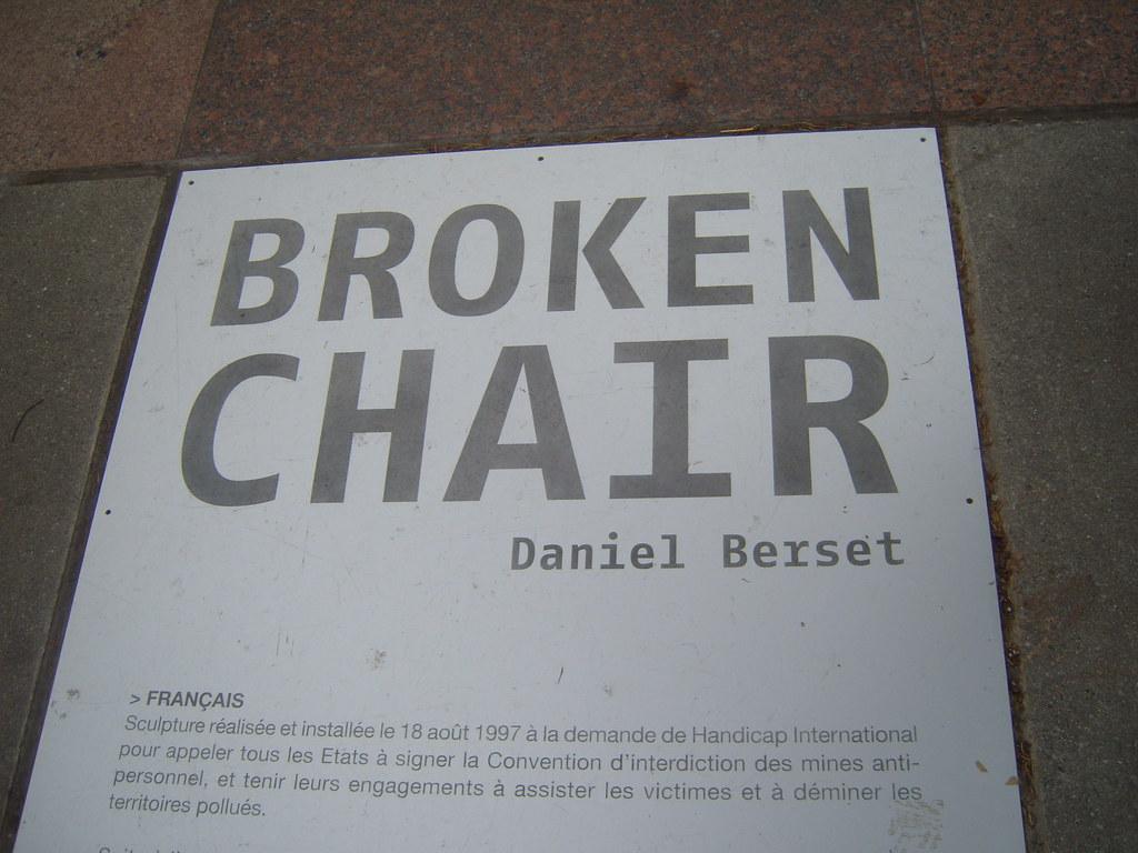 Broken Chair - Geneva | Broken chair - In front of United ...