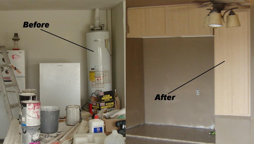 Custom Garage Cabinet Installation Hiding Water Heater Wa