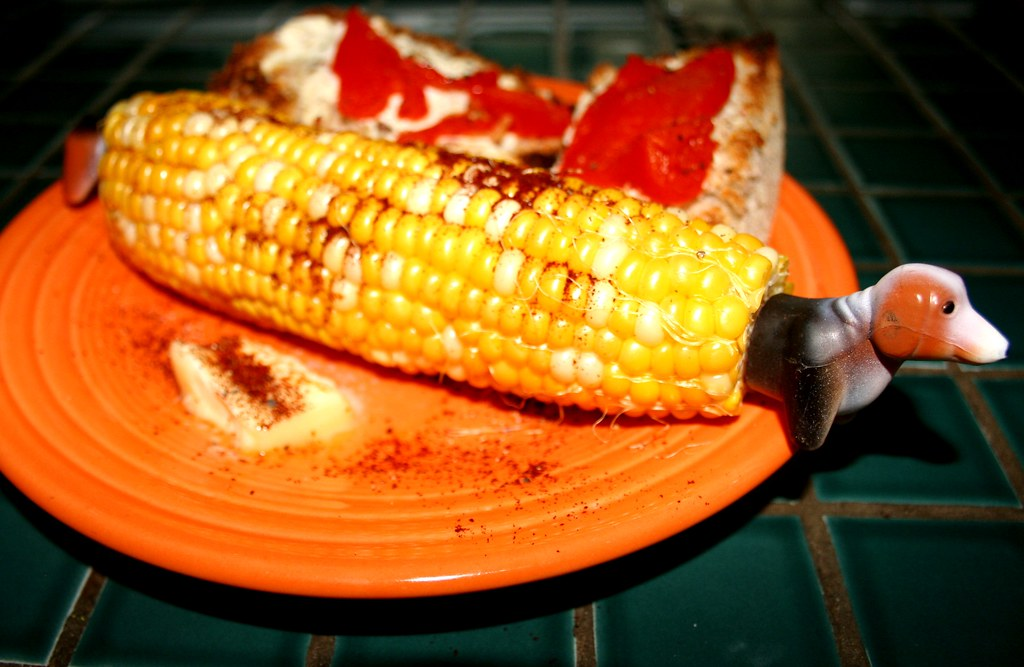 corn with beagle | dinner. bruschetta with chevre and pepper ...