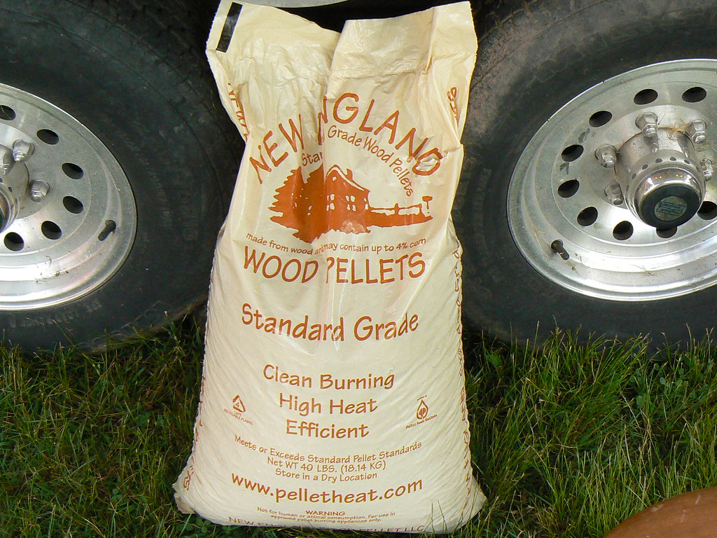 A pound bag of new england wood pellets