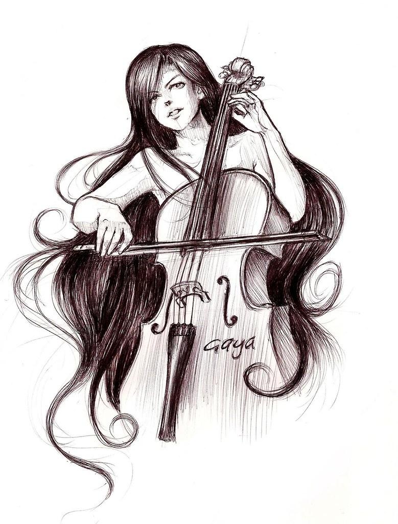 Cello Girl | Pen sketch | Noura Alhallaq | Flickr