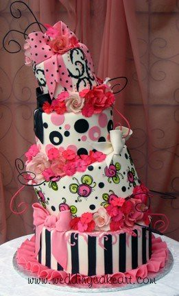 Pink and Black Crooked Cake | by sharoncakes