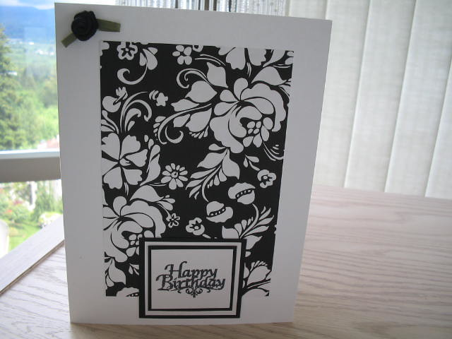 black and white elegance happy birthday card snowy652 – Black and White Birthday Card