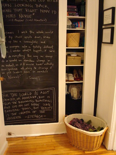 chalkboard wall, cubby holes, laundry corner | by jawcey