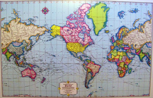 Late 1950s Mercator Projection World Map On A Desktop