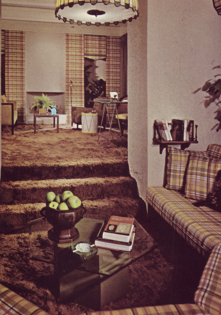 Plaid banquette and a shag carpet caption reads a for 70s living room furniture