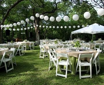 Wedding decor paper lanterns white z flickr for Decoracion de jardin al aire libre