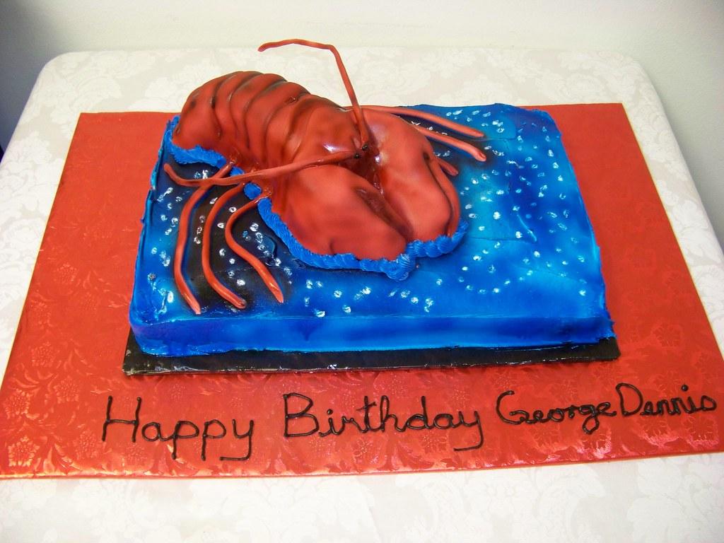 Carved Crawfish Birthday Cake A 1 2 Sheet Marble Cake
