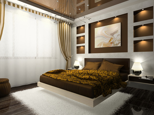 Charming ... Interior Of The Comfortable Bedroom In Brown Color | By Addisonmagazine