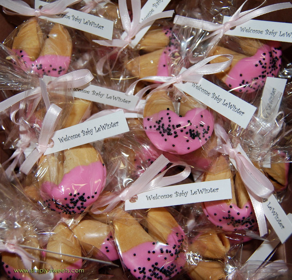 Chocolate Dipped Fortune Cookie Baby Shower Favors Ladybug