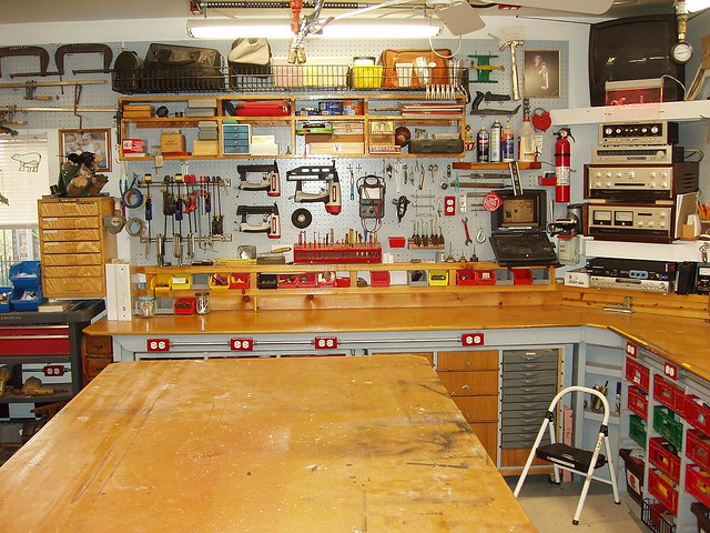 Woodshop 01 (18) | The rest of the west wall with pegboard ...