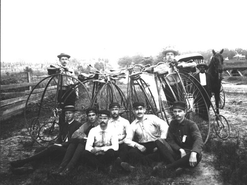 Young men with Penny-Farthing bicycles | by State Library and Archives of Florida