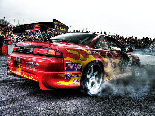Brett Castle S Nissan S15 Drift Car Doing Burn Out Gti