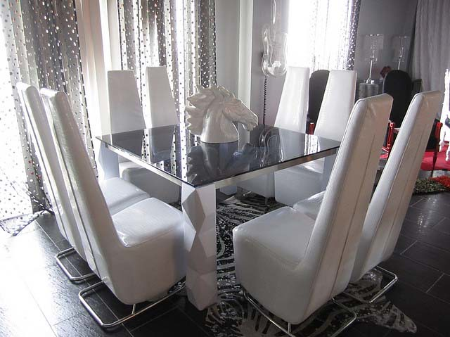 4026 Modern Square Glass Dining Table Amp 4025 Modern Chairs