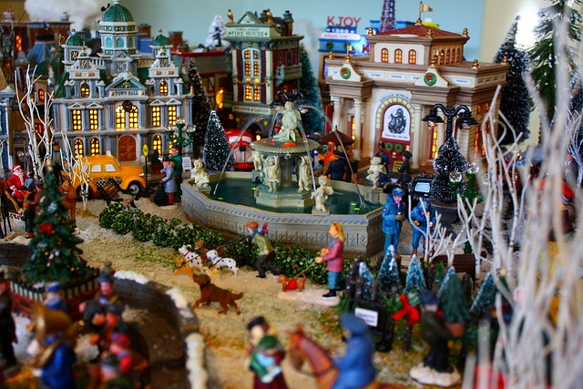 Christmas village fountain 2 village is mostly done save flickr - The tiny house village a miniature settlement ...