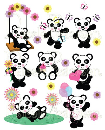 Panda Bear Clip Art Set | Clip art set available at www.nico ...