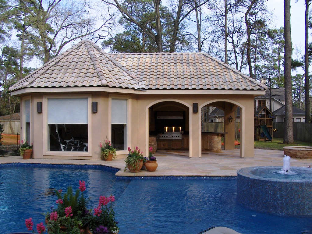 Stucco Pool House With Outdoor Kitchen 8 Scott Ward Flickr