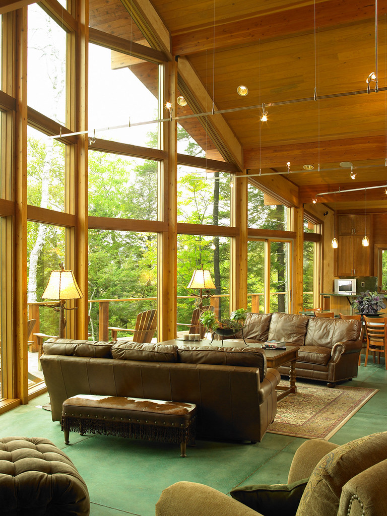 Great room with wall of glass lindal cedar home in for Lindal log cabin homes