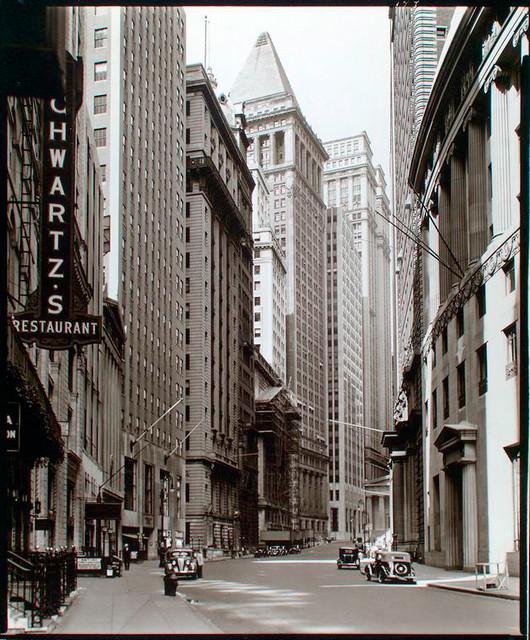 Manhattan Streets: Broad Street Looking Toward Wall Street, Manhattan.
