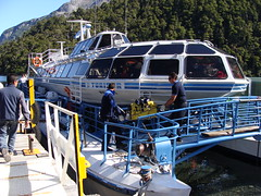 DSC03593 Unloading our gear from the first boat on the Andean Lakes Crossing