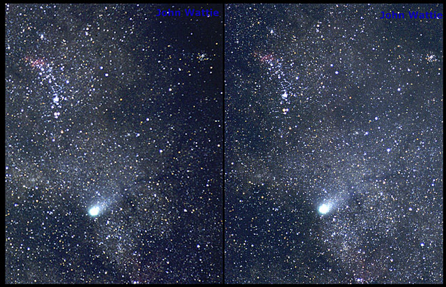 Red Stars Background Comet Halley in 3D, cr...