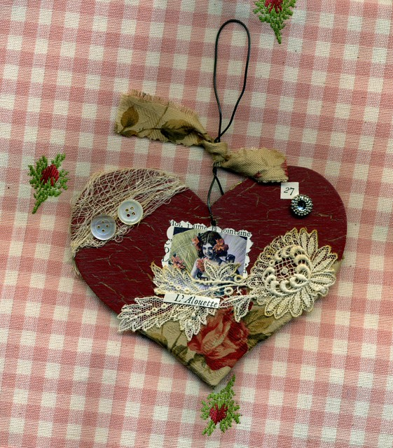 Wooden heart ornament die cut with
