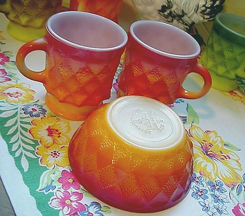 Fire King Quot Kimberly Quot Mugs Amp Bowl Yellow Orange Shading I