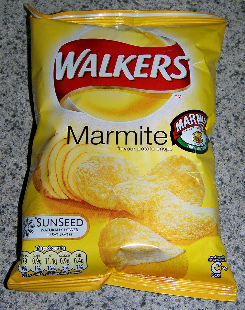 walkers marmite flavour potato crisps also from the