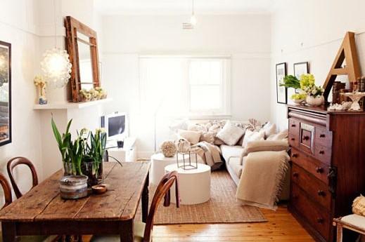 Georgie kay via design files white vintage rustic living flickr - Small room space heater decor ...