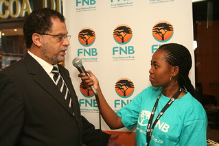 Danny Jordaan being interviewed by a FNB Roving Reporter | by Shine 2010 - 2010 World Cup good news