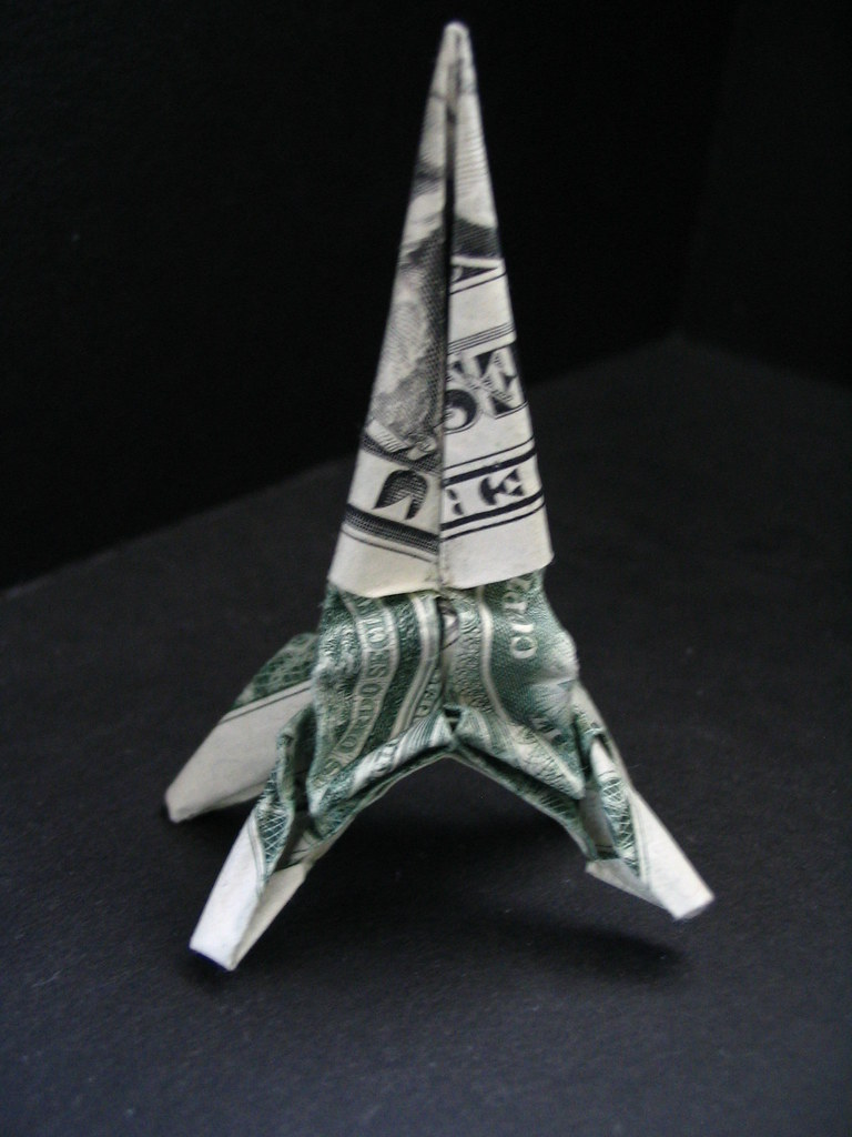 dollar origami eiffel tower i designed this in a batch