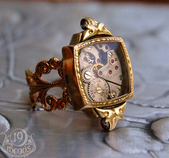 L'AGE D'OR SteamPunk Vintage Watch Ring by 19 Moons GOLD RUBIES Neo Victorian Art Deco | by 19moons