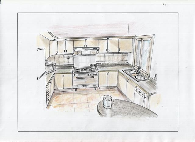Module 4 Perspective Drawing Kitchen Amanda Cairo Flickr