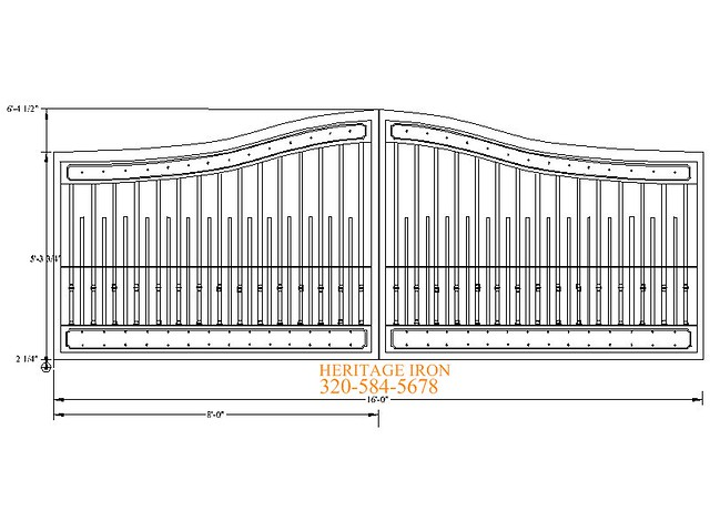 Driveway gate design aluminum or steel cad drawing