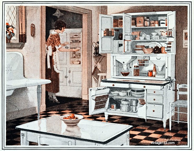 1923 Kitchen | Taken from an ad for Hoosier Kitchen Plans