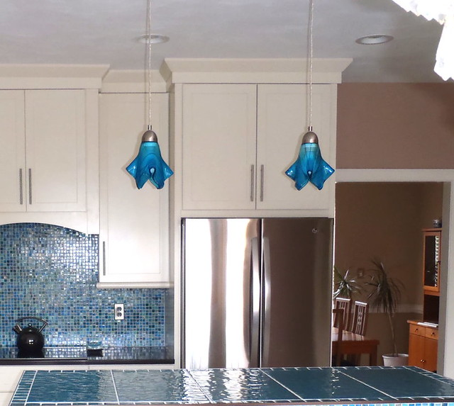 Glass Pendant Lights For Kitchen Island: Turquoise Blue Med. Kitchen Island Pendant Lights