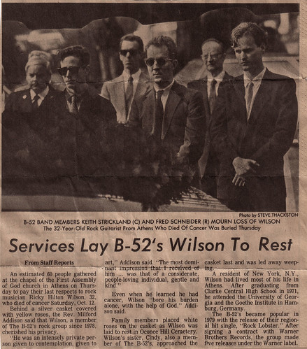 Ricky Wilson's Funeral, 1985 | From the Athens Banner ...