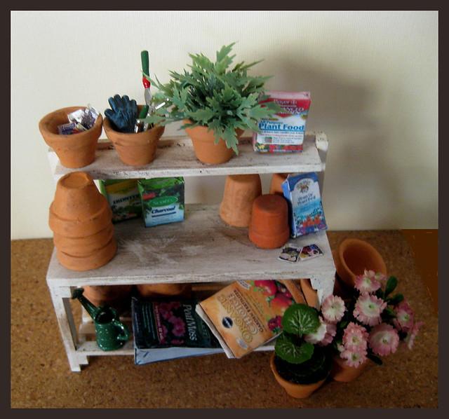 Dollhouse Garden White Potting Table Scene, Miniature