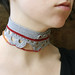 grey+red crochet choker