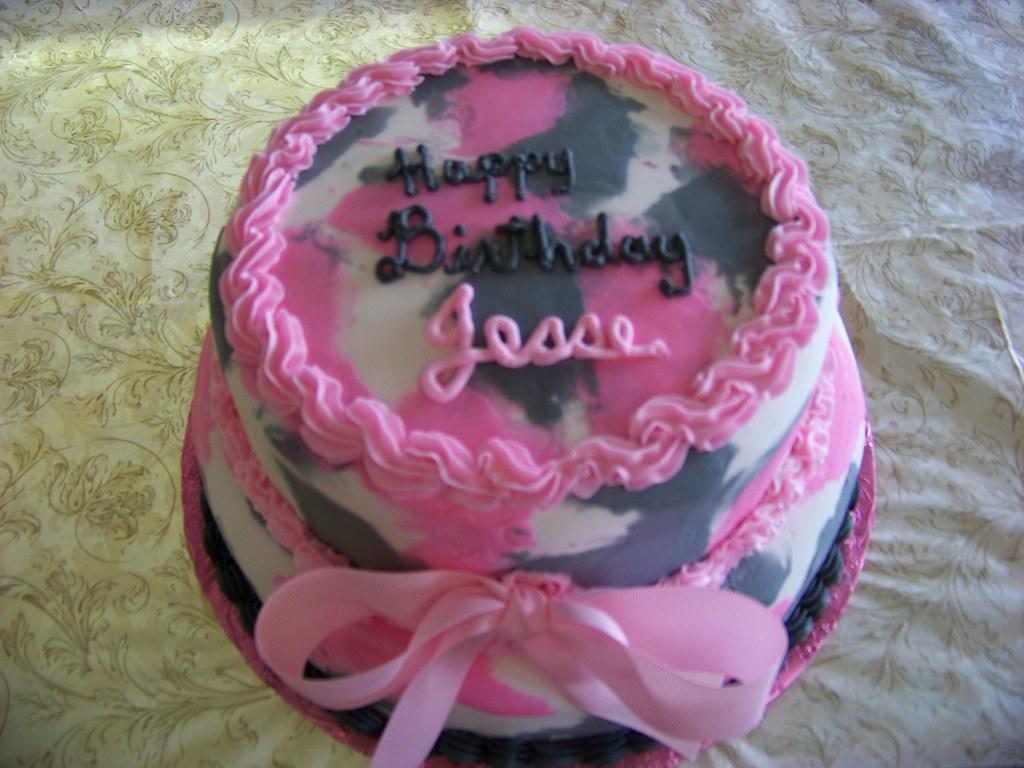 Pink Camo Birthday Cake A 2 Tier Fondant Cake Decorated