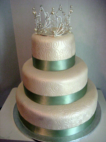 sage green wedding cake ivory and green with pattern wedding cake flickr 19616