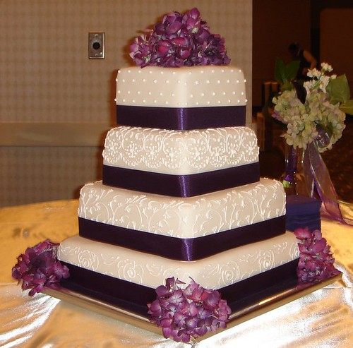 square wedding cake with purple ribbon square custom fondant wedding cake with scroll work purpl 20438