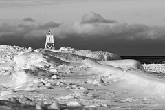 Grand Marais Harbor Light - Winter B/W | by James Marvin Phelps