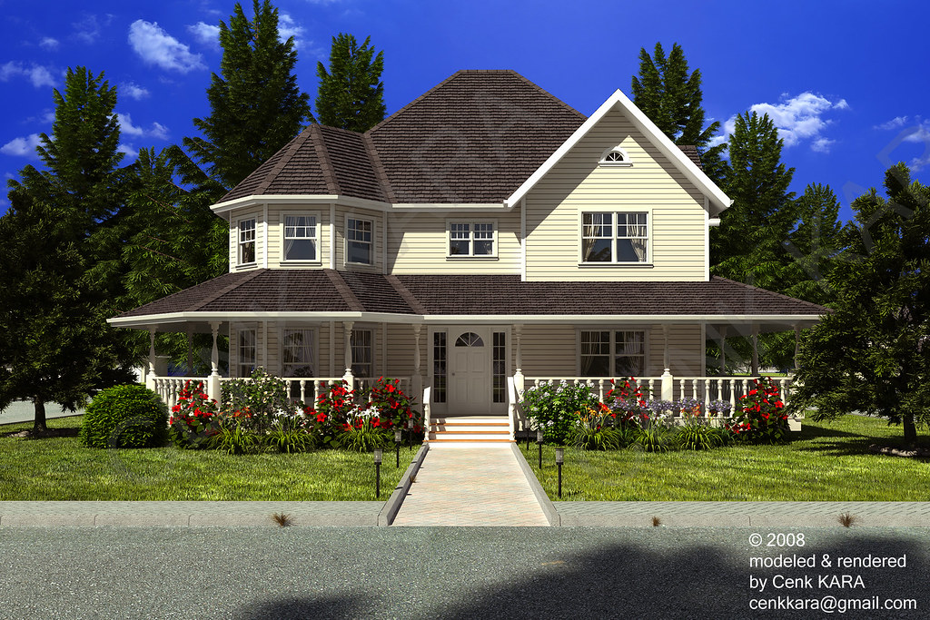 Victorian style home rendering exterior house cenk for New victorian style homes