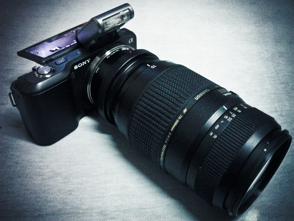 sony nex3 with tamron 70 300 finally got my lens adapter. Black Bedroom Furniture Sets. Home Design Ideas